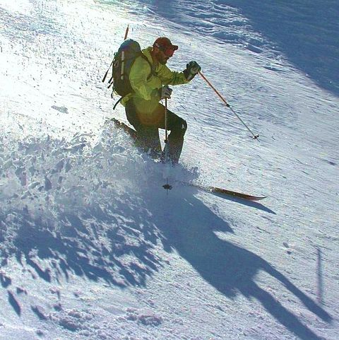 Skier on cruddy snow